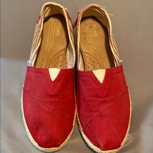 Toms red canvas flats size 7